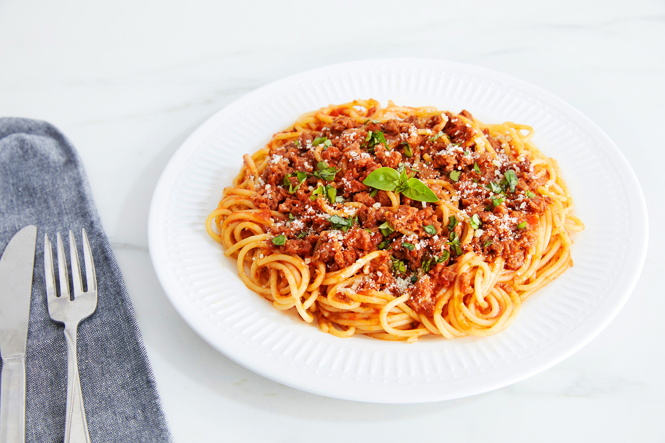 A plate of spaghetti made with OZO ground.