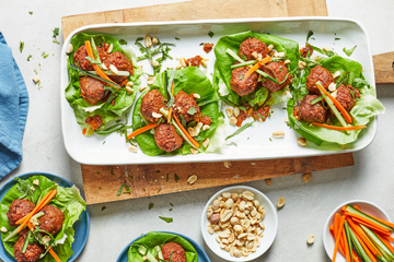 Red Curry Meatball Lettuce Wraps