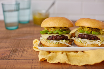 Swiss and Green Chile Burgers